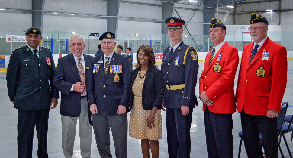 Capt S Tarachandra (Corps officer and serving RCMP Member, Mr. Arnold Huffman (Councilor and acting Mayor, Town of Milton), Mr Bob Elliott (Cadet Liaison, Branch 136, Milton Royal Canadian Legion), Indira Naidoo-Harris (MPP Halton), Insp Ivan L'Ortye (Halton Reginal Police Service), Steve Semenchuk, and Jim Brown
