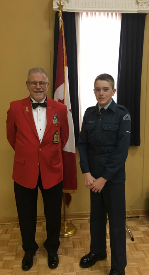 President Jim Brown at the Chadburn 151 Squadron Air Cadets Mess Dinner in Oshawa with his grandson Tyler Crabb.