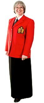 With full-length skirt
