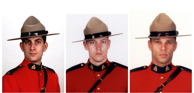 From left, Const. Douglas James Larche, 40, from Saint John, Const. Dave Joseph Ross, 32, from Victoriaville, Que., and Const. Fabrice Georges Gevaudan, 45, from Boulogne-Billancourt, France, were killed in Moncton on June 4, 2014. (RCMP)